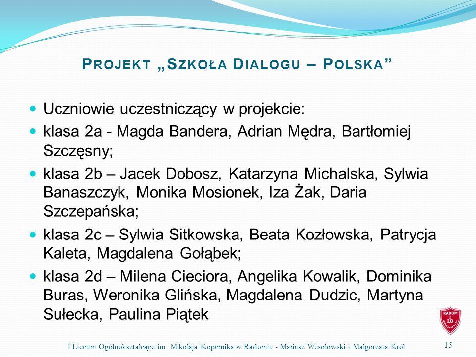 P ROJEKT S ZKOŁA D IALOGU – P OLSKA Uczniowie uczestniczący w projekcie: klasa 2a - Magda Bandera, Adrian Mędra, Bartłomiej Szczęsny; klasa 2b – Jacek