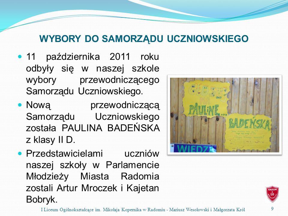 WYBORY DO SAMORZĄDU UCZNIOWSKIEGO 11 października 2011 roku odbyły się w naszej szkole wybory przewodniczącego Samorządu Uczniowskiego. Nową przewodni