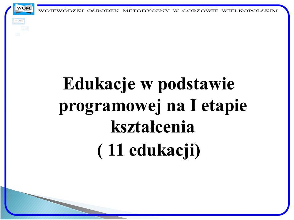 Edukacje w podstawie programowej na I etapie kształcenia ( 11 edukacji)