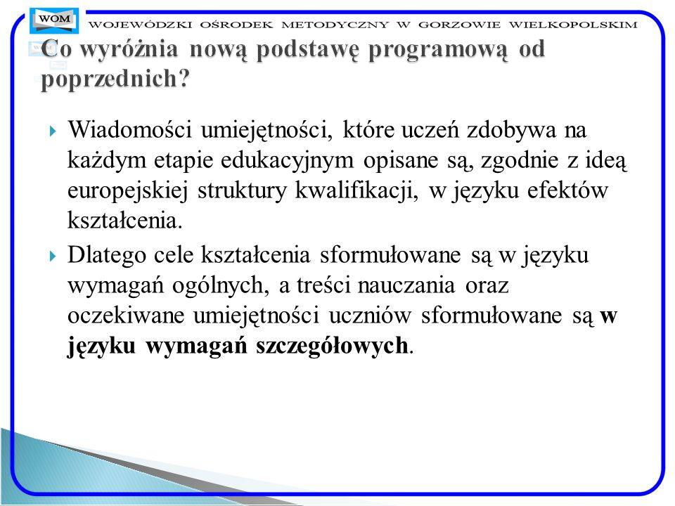 Wiadomości umiejętności, które uczeń zdobywa na każdym etapie edukacyjnym opisane są, zgodnie z ideą europejskiej struktury kwalifikacji, w języku efe