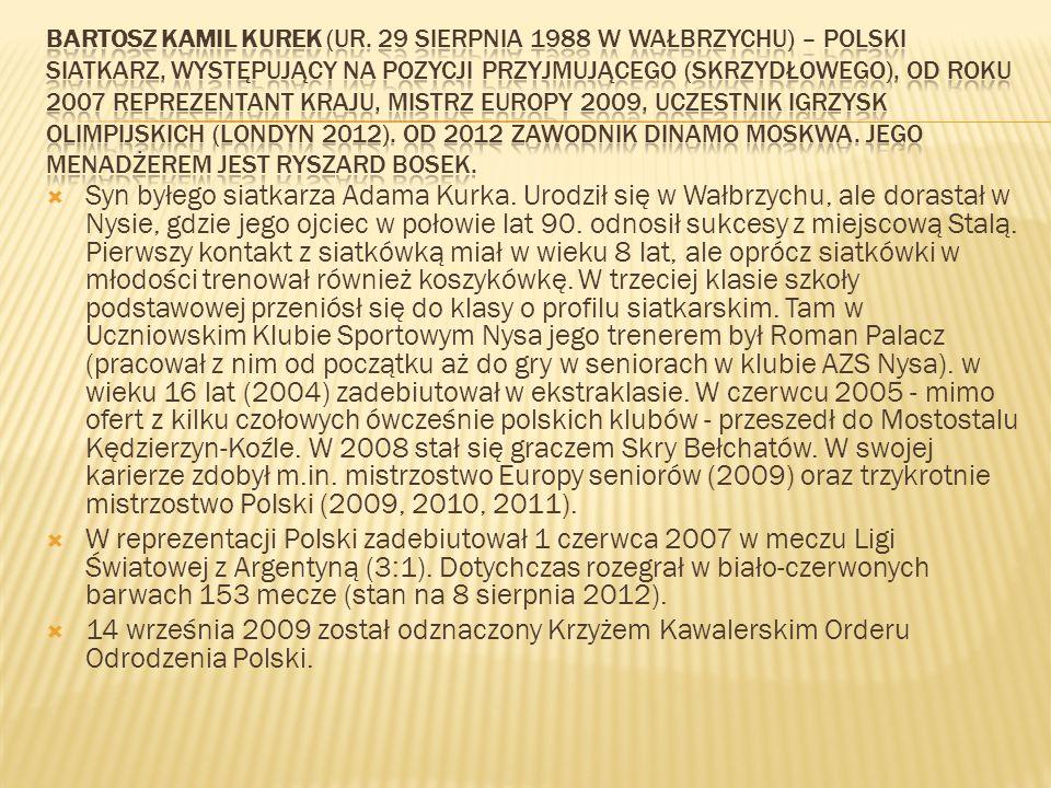Syn byłego siatkarza Adama Kurka. Urodził się w Wałbrzychu, ale dorastał w Nysie, gdzie jego ojciec w połowie lat 90. odnosił sukcesy z miejscową Stal