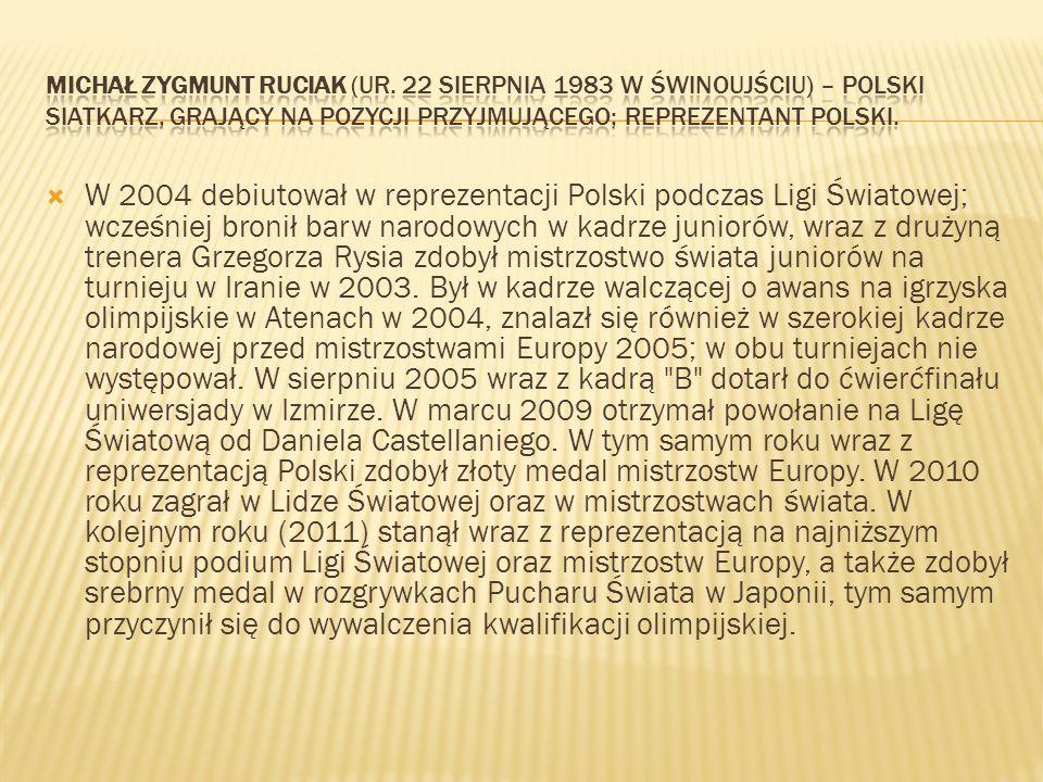 W 2004 debiutował w reprezentacji Polski podczas Ligi Światowej; wcześniej bronił barw narodowych w kadrze juniorów, wraz z drużyną trenera Grzegorza