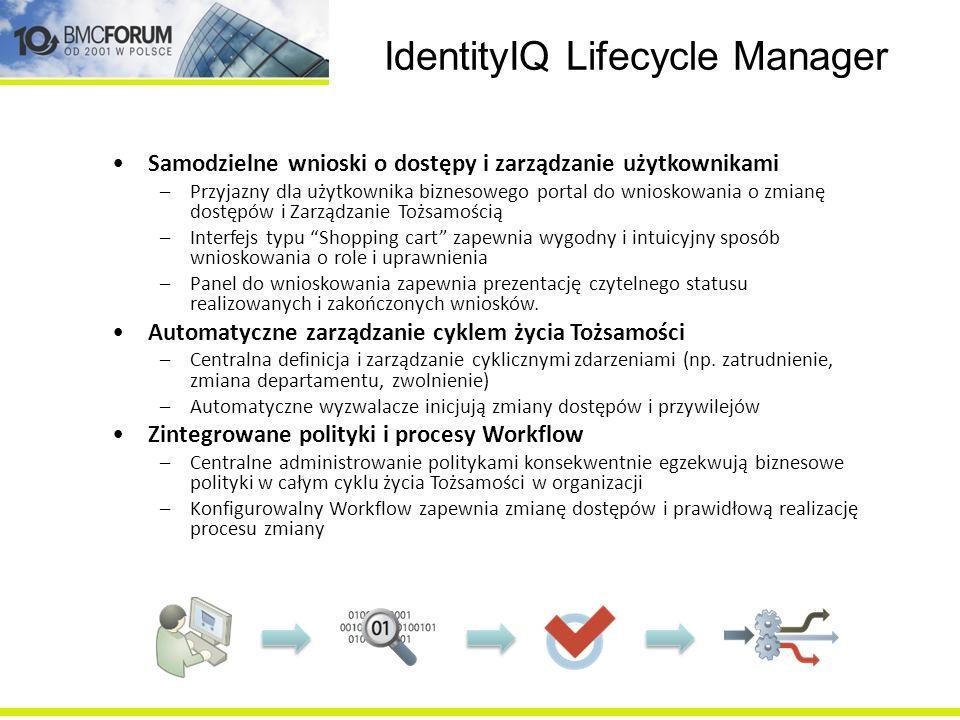 IdentityIQ Lifecycle Manager Samodzielne wnioski o dostępy i zarządzanie użytkownikami –Przyjazny dla użytkownika biznesowego portal do wnioskowania o