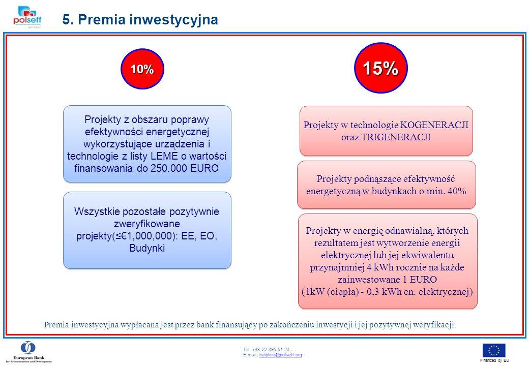 Tel: +48 22 395 51 20 E-mail: helpline@polseff.orghelpline@polseff.org Financed by EU 5. Premia inwestycyjna 10% 15% Projekty z obszaru poprawy efekty