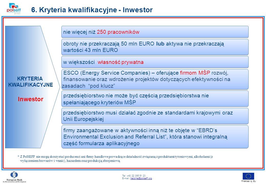 Tel: +48 22 395 51 20 E-mail: helpline@polseff.orghelpline@polseff.org Financed by EU 6. Kryteria kwalifikacyjne - Inwestor KRYTERIA KWALIFIKACYJNE In