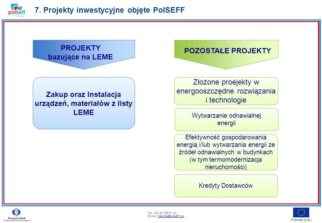 Tel: +48 22 395 51 20 E-mail: helpline@polseff.orghelpline@polseff.org Financed by EU 7. Projekty inwestycyjne objęte PolSEFF PROJEKTY bazujące na LEM