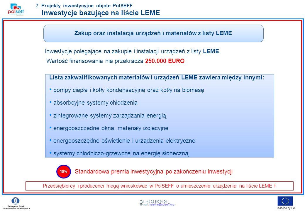 Tel: +48 22 395 51 20 E-mail: helpline@polseff.orghelpline@polseff.org Financed by EU Zakup oraz instalacja urządzeń i materiałów z listy LEME Inwesty