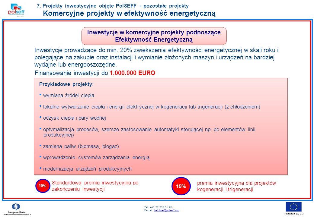 Tel: +48 22 395 51 20 E-mail: helpline@polseff.orghelpline@polseff.org Financed by EU Inwestycje prowadzące do min. 20% zwiększenia efektywności energ