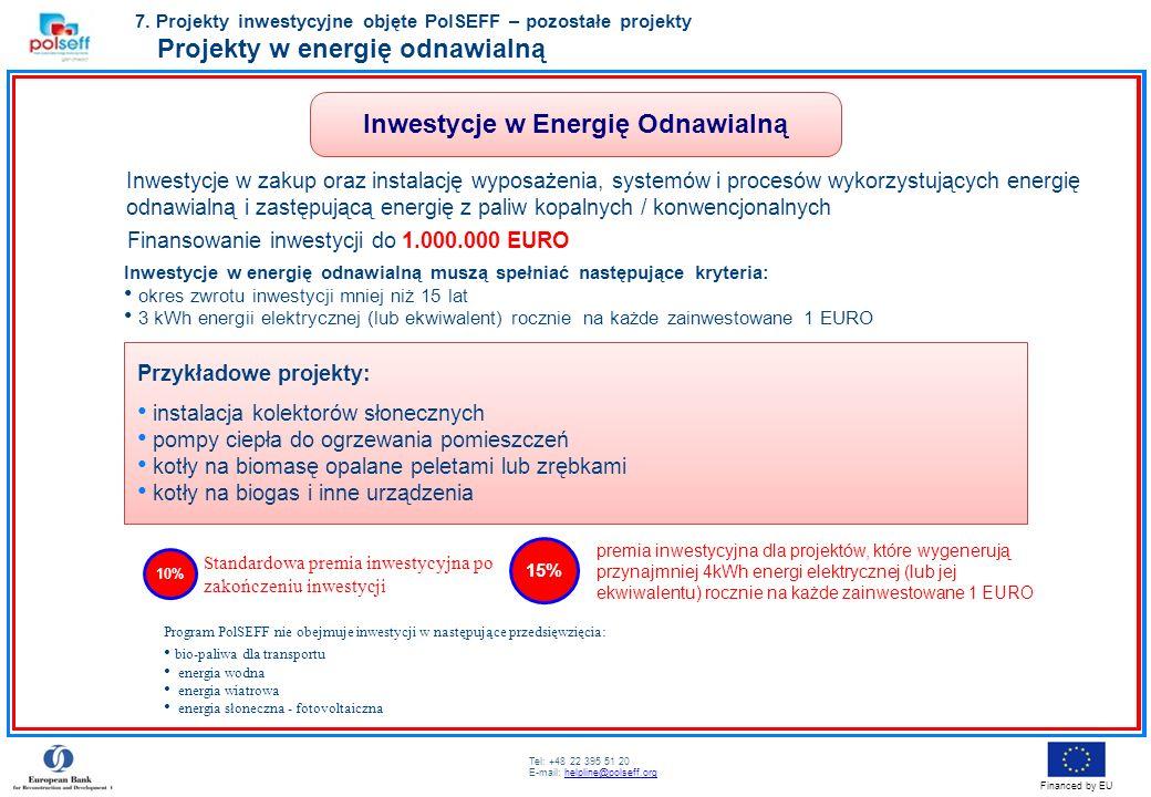 Tel: +48 22 395 51 20 E-mail: helpline@polseff.orghelpline@polseff.org Financed by EU Przykładowe projekty: instalacja kolektorów słonecznych pompy ci
