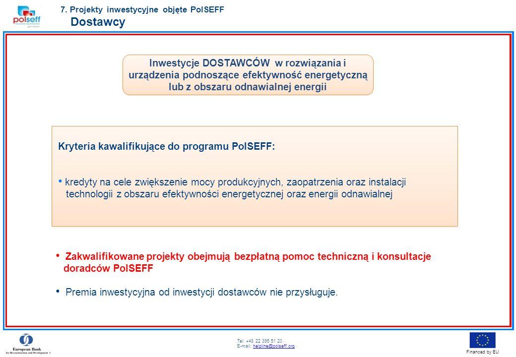 Tel: +48 22 395 51 20 E-mail: helpline@polseff.orghelpline@polseff.org Financed by EU Inwestycje DOSTAWCÓW w rozwiązania i urządzenia podnoszące efekt