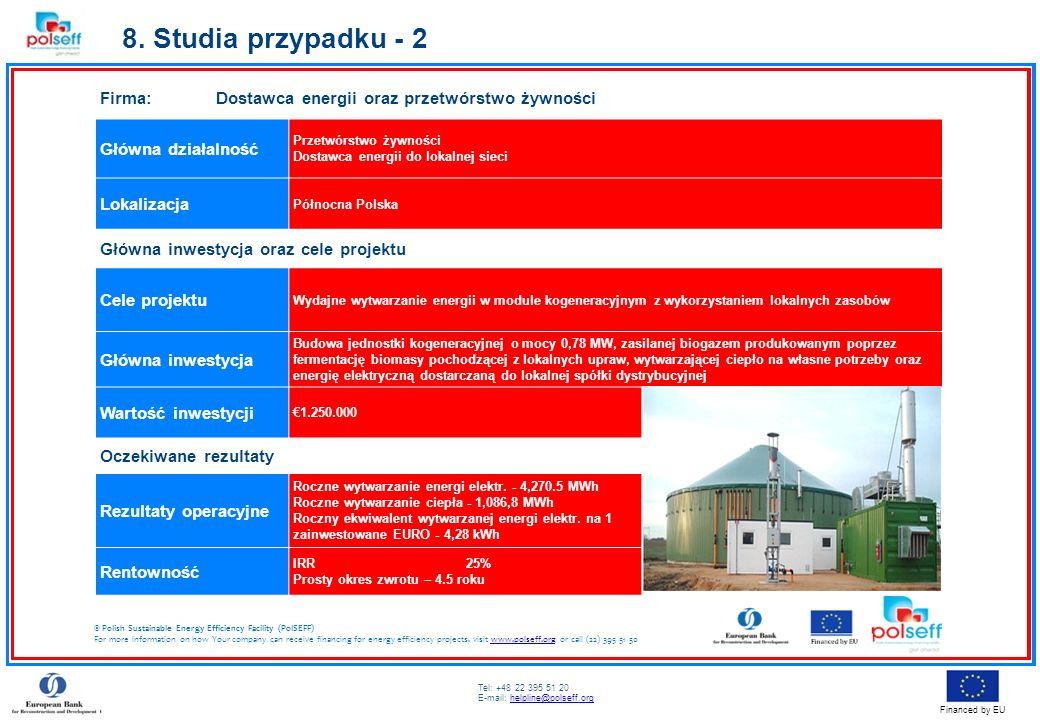 Tel: +48 22 395 51 20 E-mail: helpline@polseff.orghelpline@polseff.org Financed by EU Firma: Dostawca energii oraz przetwórstwo żywności Główna działa