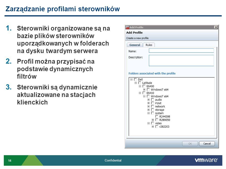 14 Confidential 1. Sterowniki organizowane są na bazie plików sterowników uporządkowanych w folderach na dysku twardym serwera 2. Profil można przypis