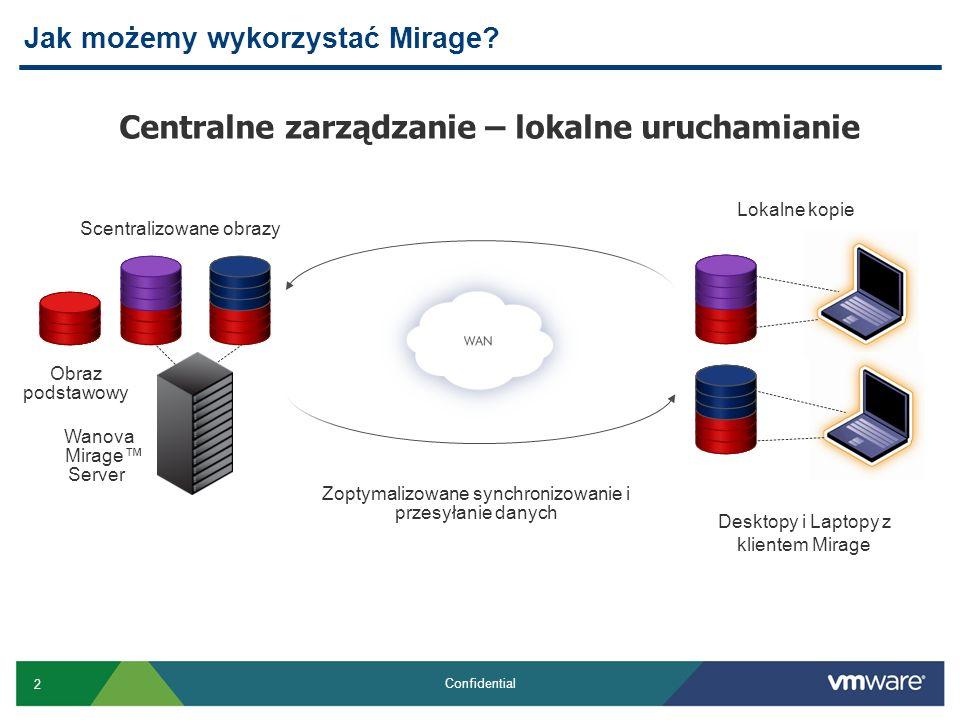 3 Confidential Terminologia która będzie potrzebna Mirage Client Mirage Management Server Mirage Server (możliwe klastrowanie) Database CVD – Centralized Virtual Desktop Reference CVD Layer Branch reflector Mirage File Portal Driver Library USMT