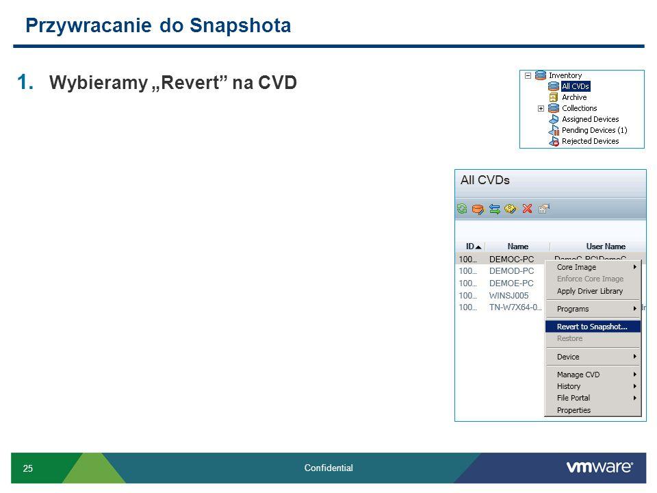 25 Confidential 1. Wybieramy Revert na CVD Przywracanie do Snapshota