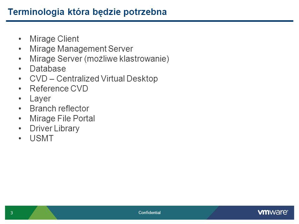 3 Confidential Terminologia która będzie potrzebna Mirage Client Mirage Management Server Mirage Server (możliwe klastrowanie) Database CVD – Centrali