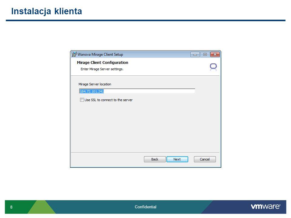 9 Confidential Mirage Client Windows XP 32-bit, Windows 7 32-bit or 64-bit Wymagany.NET 3.5 SP1 Instalator MSI 4,5 MB wielkości Wymaga min 5 GB wolnej przestrzeni Średnio generuje ruch rzędu 15 Kb/s (50 MB per użytkownik dziennie) Dynamiczne przydzielania pasma (throttling), porty TCP 8000 i 8443 Bezpieczeństwo: komunikacja klienta po SSL, sumy kontrolne MD5, uprawnienia NTFS, szyfrowanie EFS, Bitlocker, Safeguard etc.