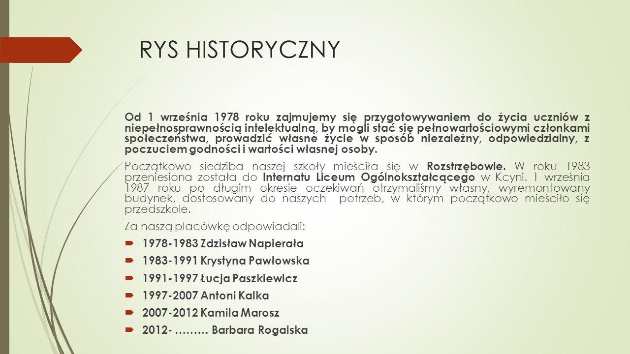 RYS HISTORYCZNY Od 1 września 1978 roku zajmujemy się przygotowywaniem do życia uczniów z niepełnosprawnością intelektualną, by mogli stać się pełnowa
