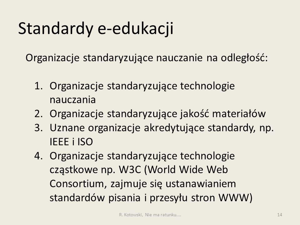 Standardy e-edukacji 14 Organizacje standaryzujące nauczanie na odległość: 1.Organizacje standaryzujące technologie nauczania 2.Organizacje standaryzujące jakość materiałów 3.Uznane organizacje akredytujące standardy, np.
