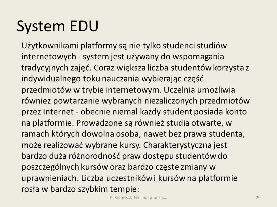 System EDU 20 Użytkownikami platformy są nie tylko studenci studiów internetowych - system jest używany do wspomagania tradycyjnych zajęć. Coraz więks