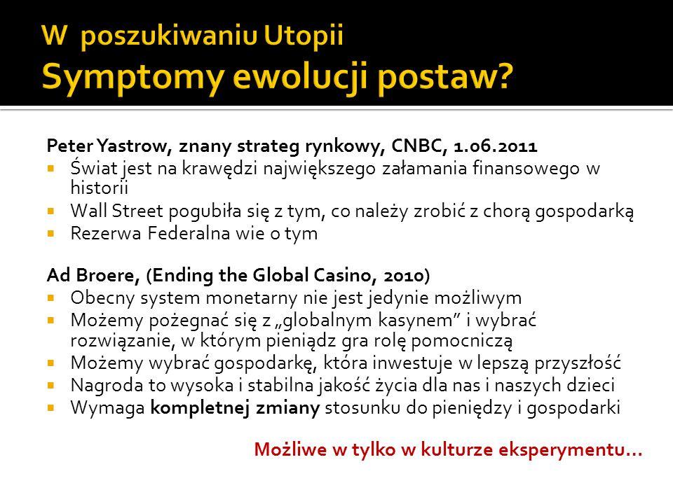 Peter Yastrow, znany strateg rynkowy, CNBC, 1.06.2011 Świat jest na krawędzi największego załamania finansowego w historii Wall Street pogubiła się z tym, co należy zrobić z chorą gospodarką Rezerwa Federalna wie o tym Ad Broere, (Ending the Global Casino, 2010) Obecny system monetarny nie jest jedynie możliwym Możemy pożegnać się z globalnym kasynem i wybrać rozwiązanie, w którym pieniądz gra rolę pomocniczą Możemy wybrać gospodarkę, która inwestuje w lepszą przyszłość Nagroda to wysoka i stabilna jakość życia dla nas i naszych dzieci Wymaga kompletnej zmiany stosunku do pieniędzy i gospodarki Możliwe w tylko w kulturze eksperymentu…