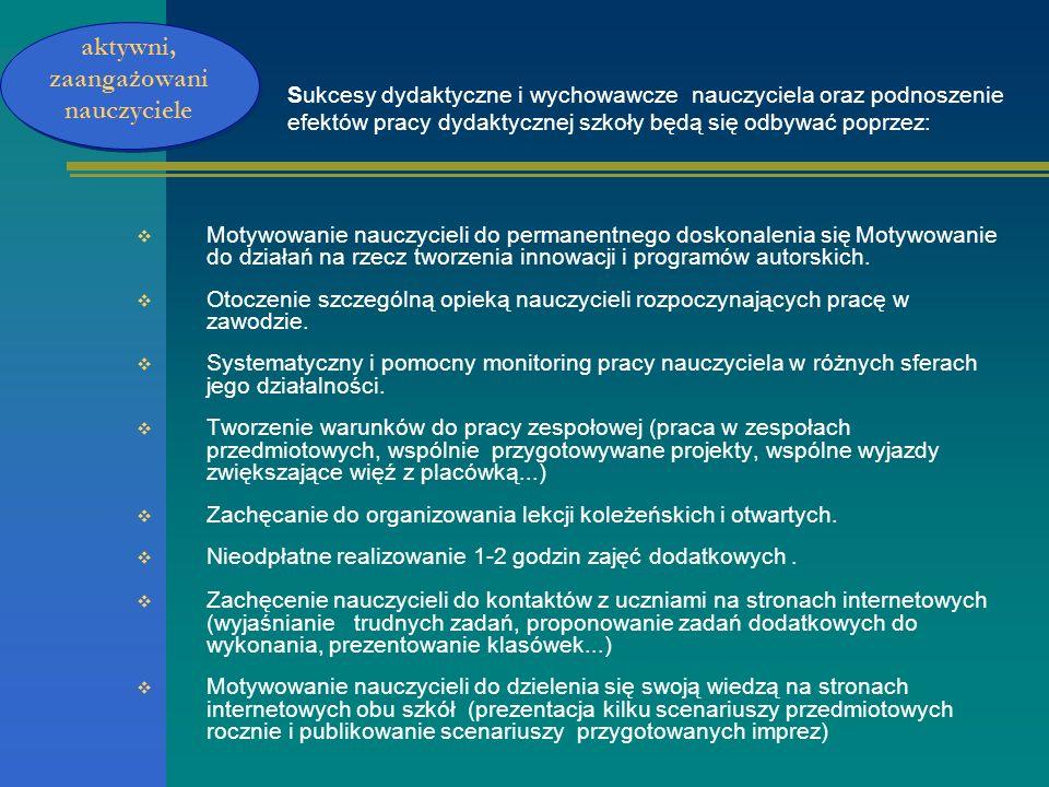 Sukcesy dydaktyczne i wychowawcze nauczyciela oraz podnoszenie efektów pracy dydaktycznej szkoły będą się odbywać poprzez: Motywowanie nauczycieli do