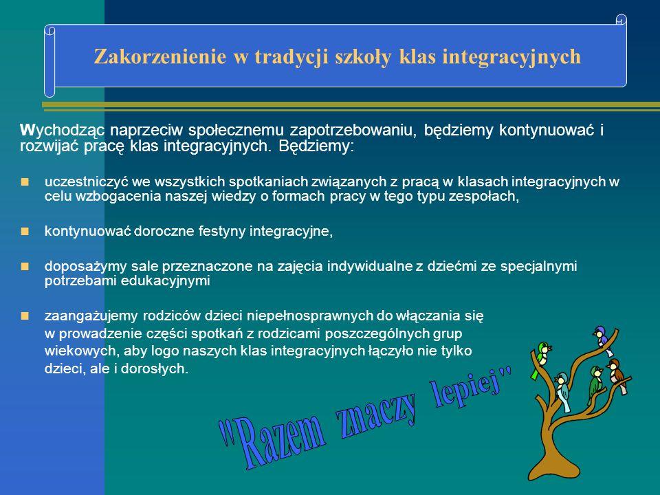 Wychodząc naprzeciw społecznemu zapotrzebowaniu, będziemy kontynuować i rozwijać pracę klas integracyjnych. Będziemy: uczestniczyć we wszystkich spotk