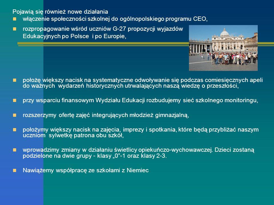 Pojawią się również nowe działania włączenie społeczności szkolnej do ogólnopolskiego programu CEO, rozpropagowanie wśród uczniów G-27 propozycji wyja