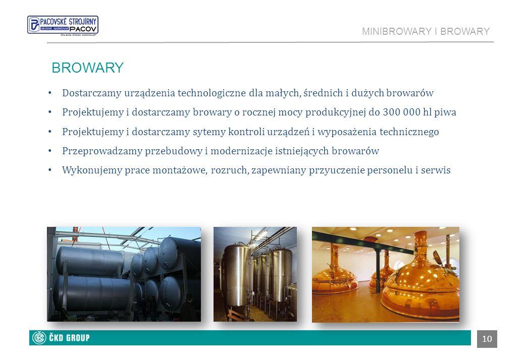 MINIBROWARY I BROWARY 10 BROWARY Dostarczamy urządzenia technologiczne dla małych, średnich i dużych browarów Projektujemy i dostarczamy browary o roc