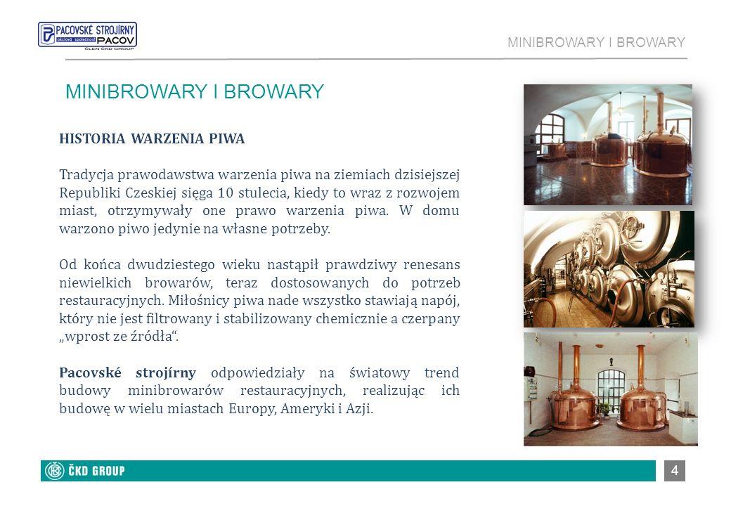 5 MINIBROWARY Produkujemy minibrowary o zróżnicowanej wielkości, z możliwością rocznej produkcji od 250 do 20000 hl piwa, z warzelną ogrzewaną ciepłą wodą, parą lub energią elektryczną.