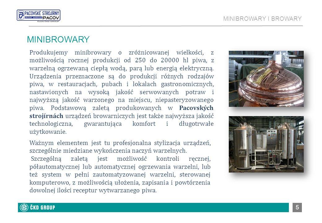 5 MINIBROWARY Produkujemy minibrowary o zróżnicowanej wielkości, z możliwością rocznej produkcji od 250 do 20000 hl piwa, z warzelną ogrzewaną ciepłą