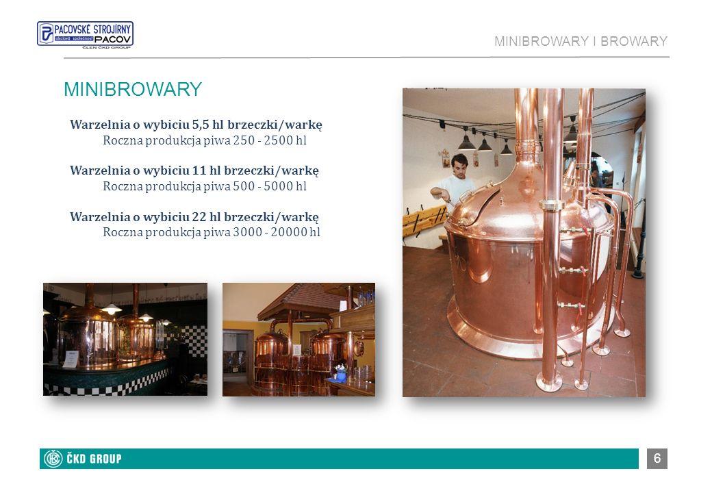 6 MINIBROWARY Warzelnia o wybiciu 5,5 hl brzeczki/warkę Roczna produkcja piwa 250 - 2500 hl Warzelnia o wybiciu 11 hl brzeczki/warkę Roczna produkcja