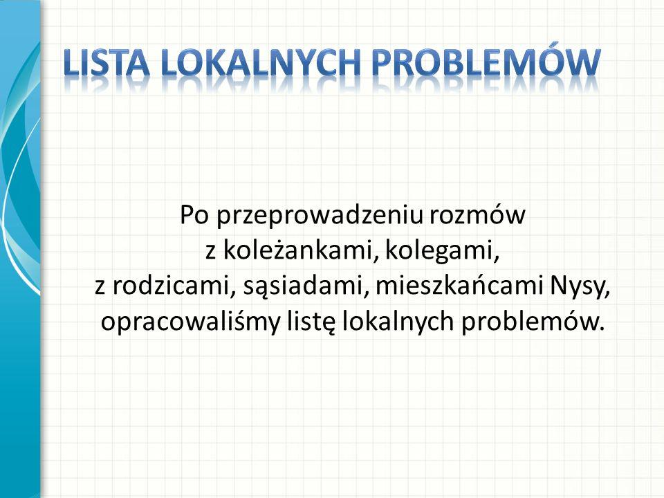 Po przeprowadzeniu rozmów z koleżankami, kolegami, z rodzicami, sąsiadami, mieszkańcami Nysy, opracowaliśmy listę lokalnych problemów.