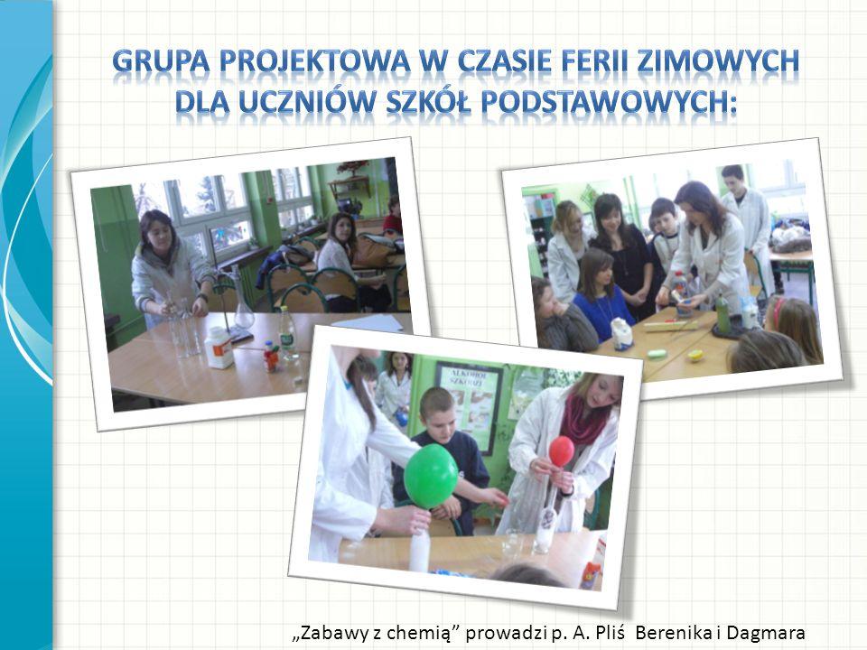 Zabawy z chemią prowadzi p. A. Pliś Berenika i Dagmara