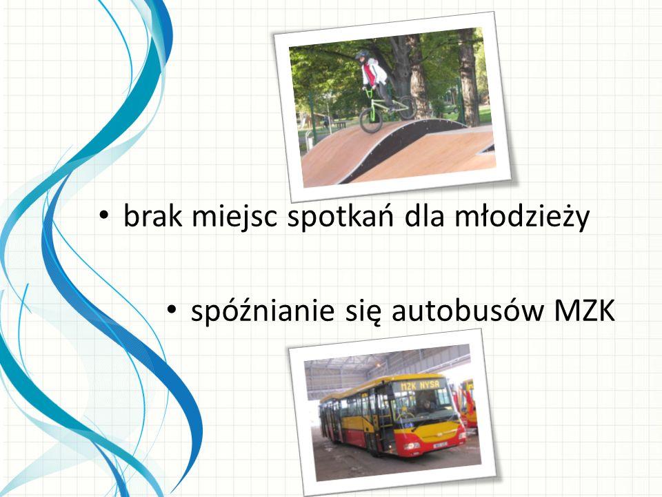 brak miejsc spotkań dla młodzieży spóźnianie się autobusów MZK