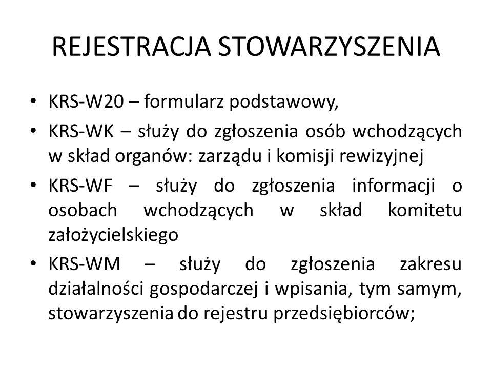 REJESTRACJA STOWARZYSZENIA KRS-W20 – formularz podstawowy, KRS-WK – służy do zgłoszenia osób wchodzących w skład organów: zarządu i komisji rewizyjnej
