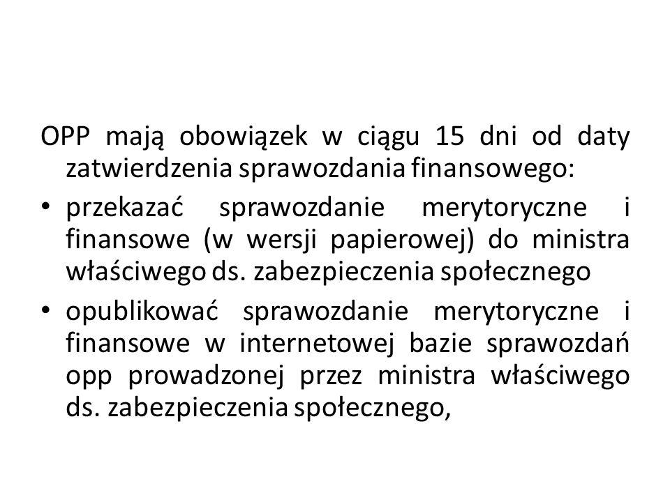 OPP mają obowiązek w ciągu 15 dni od daty zatwierdzenia sprawozdania finansowego: przekazać sprawozdanie merytoryczne i finansowe (w wersji papierowej