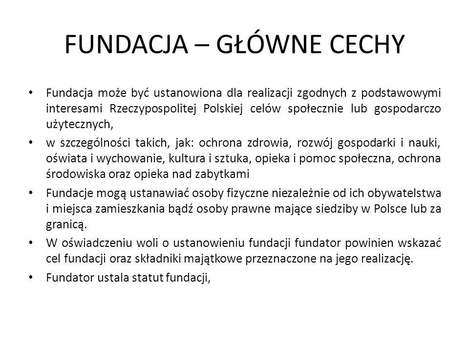 FUNDACJA – GŁÓWNE CECHY Fundacja może być ustanowiona dla realizacji zgodnych z podstawowymi interesami Rzeczypospolitej Polskiej celów społecznie lub