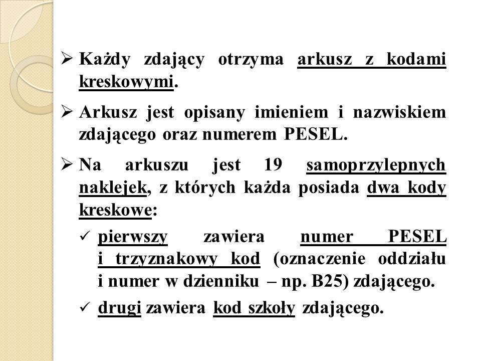 Każdy zdający otrzyma arkusz z kodami kreskowymi. Arkusz jest opisany imieniem i nazwiskiem zdającego oraz numerem PESEL. Na arkuszu jest 19 samoprzyl
