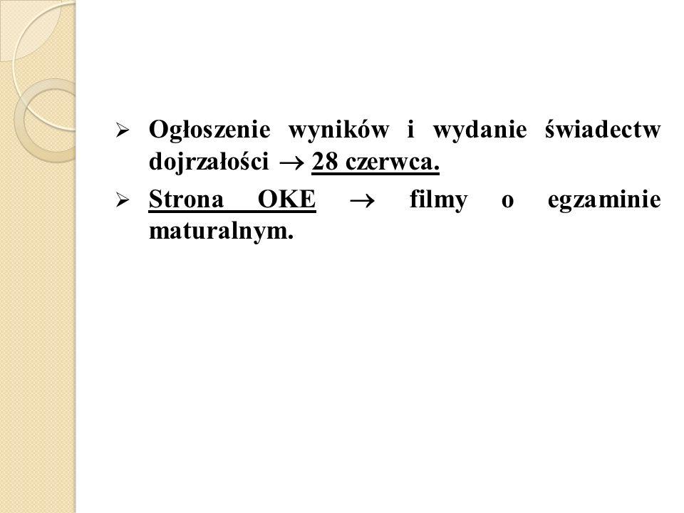 Ogłoszenie wyników i wydanie świadectw dojrzałości 28 czerwca. Strona OKE filmy o egzaminie maturalnym.