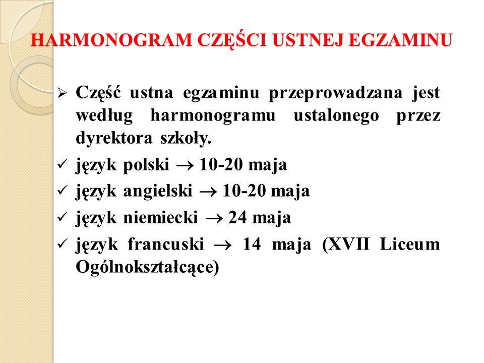 HARMONOGRAM CZĘŚCI USTNEJ EGZAMINU Część ustna egzaminu przeprowadzana jest według harmonogramu ustalonego przez dyrektora szkoły.