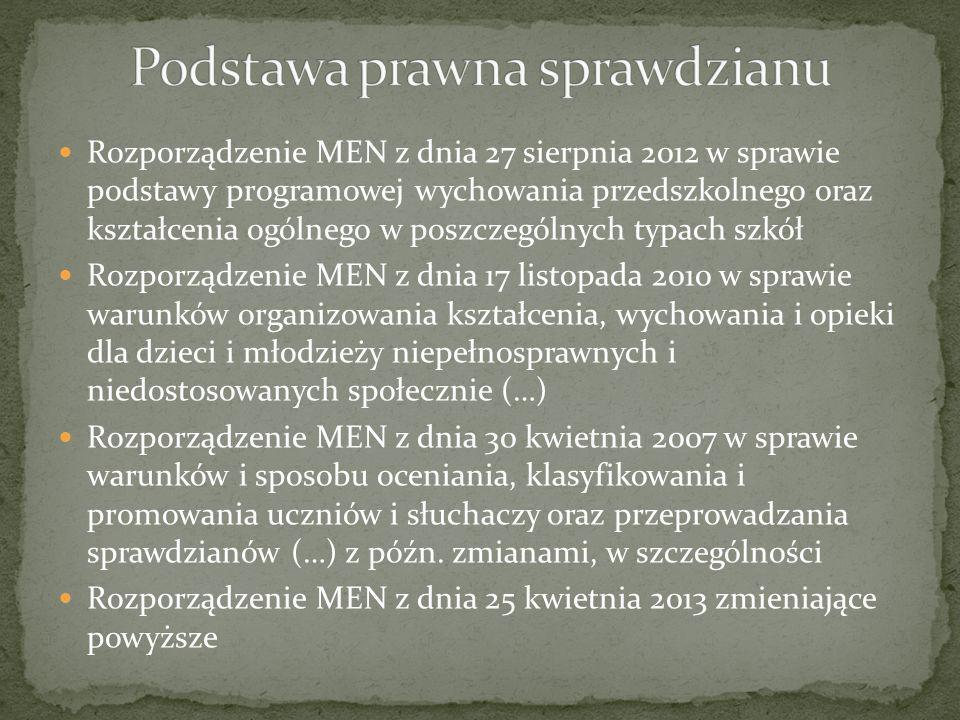 Rozporządzenie MEN z dnia 27 sierpnia 2012 w sprawie podstawy programowej wychowania przedszkolnego oraz kształcenia ogólnego w poszczególnych typach