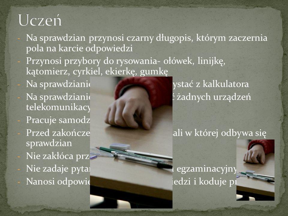 - Na sprawdzian przynosi czarny długopis, którym zaczernia pola na karcie odpowiedzi - Przynosi przybory do rysowania- ołówek, linijkę, kątomierz, cyr