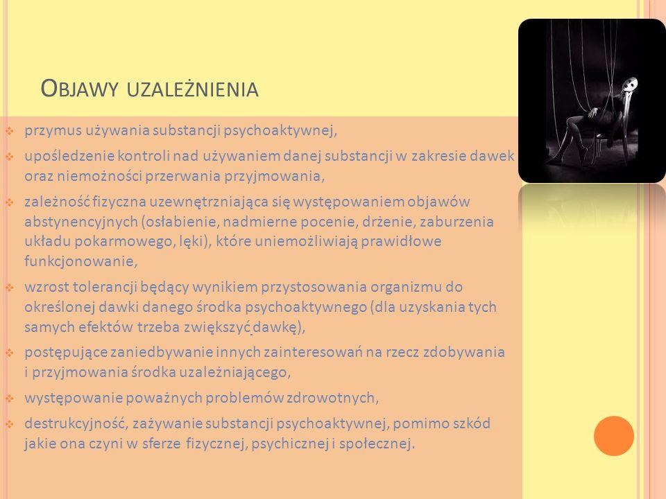O BJAWY UZALEŻNIENIA przymus używania substancji psychoaktywnej, upośledzenie kontroli nad używaniem danej substancji w zakresie dawek oraz niemożnośc