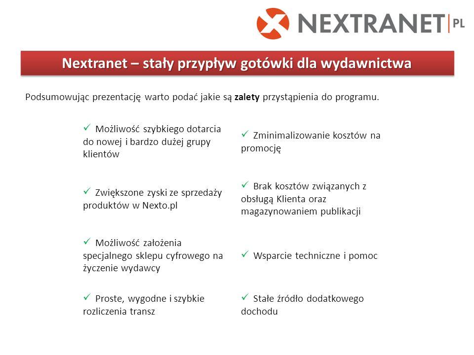 Nextranet – stały przypływ gotówki dla wydawnictwa Podsumowując prezentację warto podać jakie są zalety przystąpienia do programu. Możliwość szybkiego