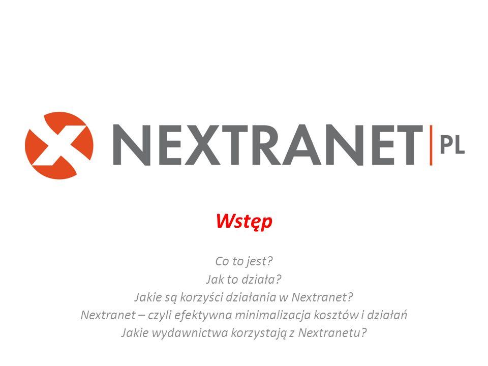 Wstęp Co to jest? Jak to działa? Jakie są korzyści działania w Nextranet? Nextranet – czyli efektywna minimalizacja kosztów i działań Jakie wydawnictw