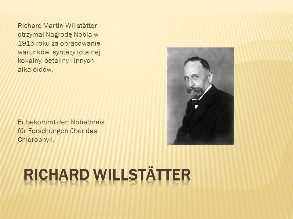 Richard Martin Willstätter otrzymał Nagrodę Nobla w 1915 roku za opracowanie warunków syntezy totalnej kokainy, betaliny i innych alkaloidów. Er bekom