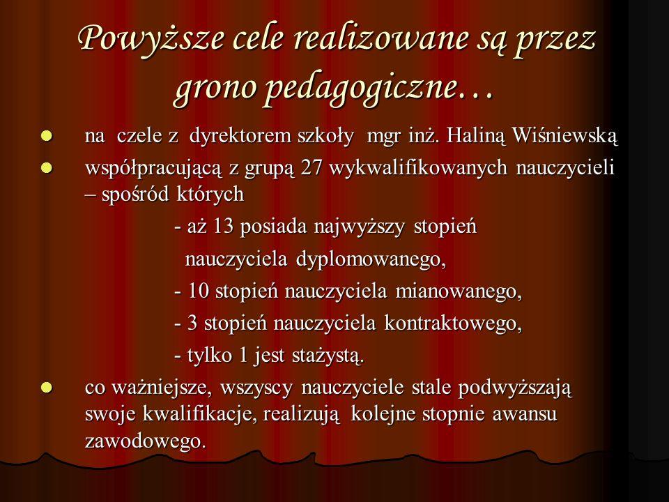 Powyższe cele realizowane są przez grono pedagogiczne… na czele z dyrektorem szkoły mgr inż. Haliną Wiśniewską na czele z dyrektorem szkoły mgr inż. H