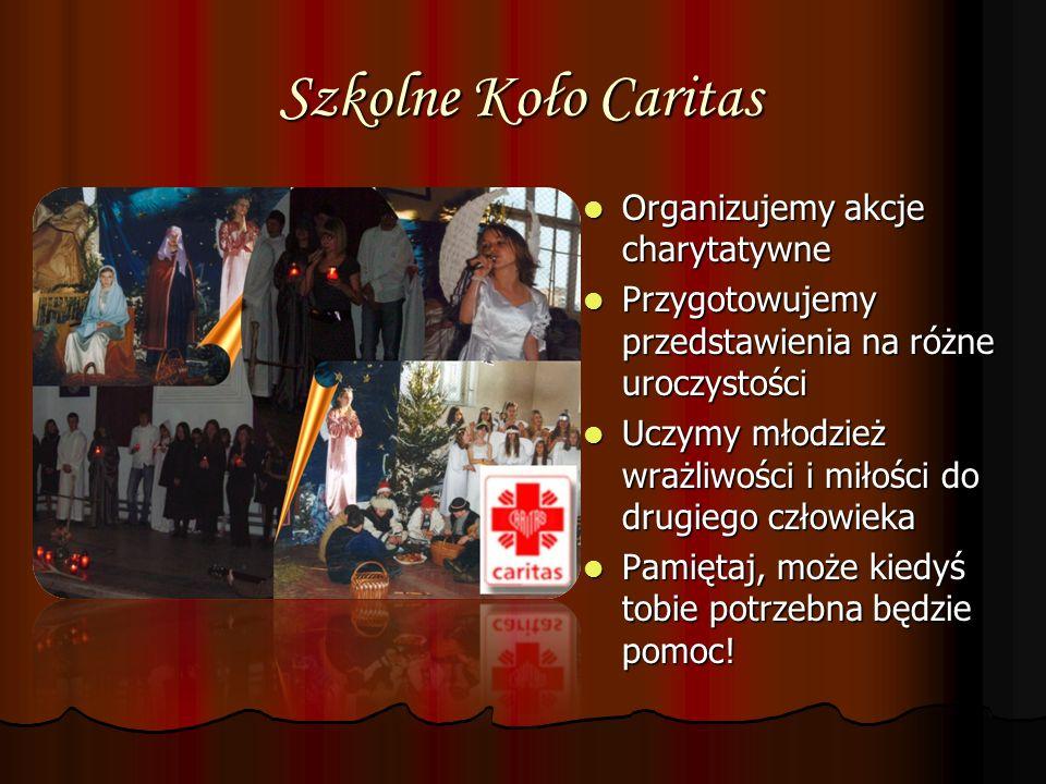 Szkolne Koło Caritas Organizujemy akcje charytatywne Organizujemy akcje charytatywne Przygotowujemy przedstawienia na różne uroczystości Przygotowujem