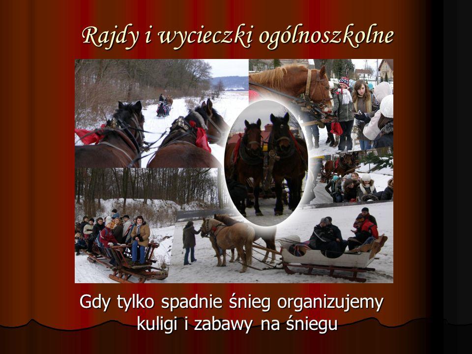 Rajdy i wycieczki ogólnoszkolne Gdy tylko spadnie śnieg organizujemy kuligi i zabawy na śniegu Gdy tylko spadnie śnieg organizujemy kuligi i zabawy na