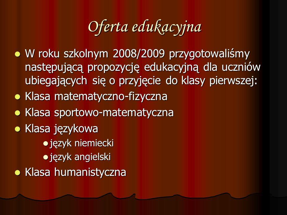 Oferta edukacyjna W roku szkolnym 2008/2009 przygotowaliśmy następującą propozycję edukacyjną dla uczniów ubiegających się o przyjęcie do klasy pierws